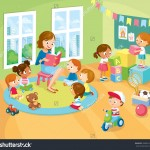 stock vector children s activity in the kinder garden reading books playing education 390891034