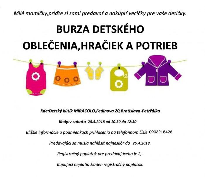7ea89136bd2a Burza detského oblečenia a potrieb v Miracolo