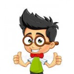 geek boy two thumbs up cartoon illustration geeky little 44146669